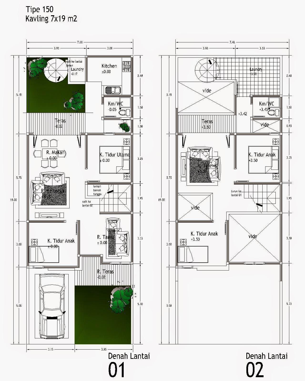 merancang desain denah rumah minimalis 2 lantai menarik