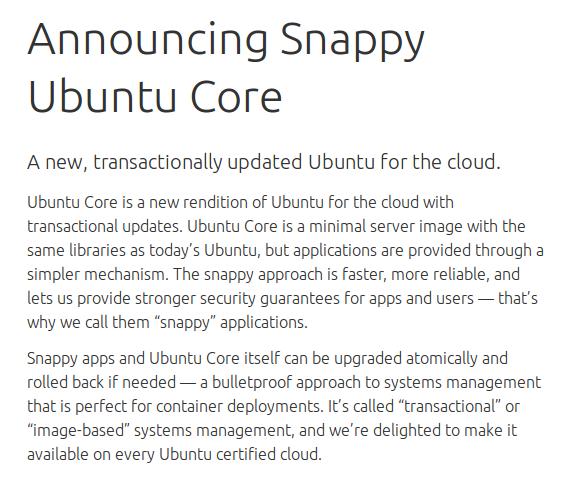 Snappy Ubuntu Core para Ubuntu Phone, informacion snappy, que es snappy