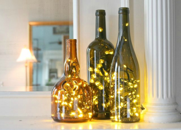 17 Apart: Over on eHow: DIY Wine Bottle Christmas Lights
