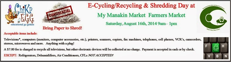 4th Annual E-Cycling.Recycling Day at ChiknEGG's My Manakin Market is Saturday, August 16th, 2014