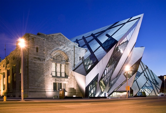 Royal Ontario Museum by Studio Daniel Libeskind at sunset as seen from the street