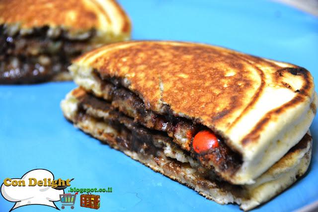פנקייקס ממולאים נוטלה Nutella filled pancakes