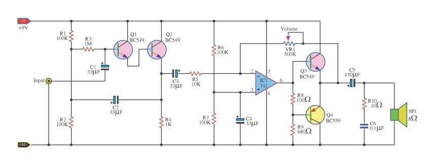 Free Circuit Diagrams  High Impedance Amplifier Circuits