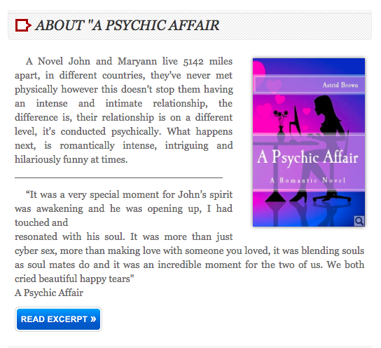 "A novel ""A psychic affair"""