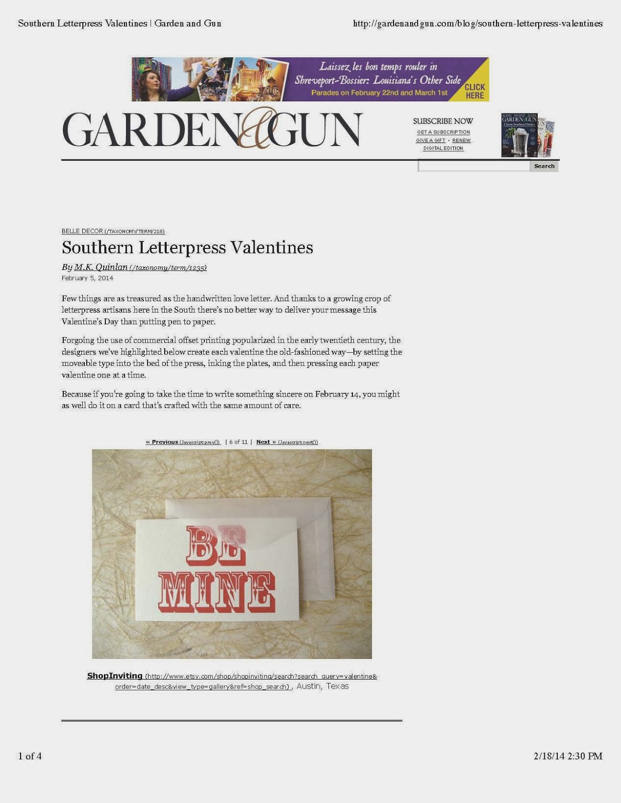 Garden and Gun Daily Shot blog post southern letterpress printers valentine card inviting austin