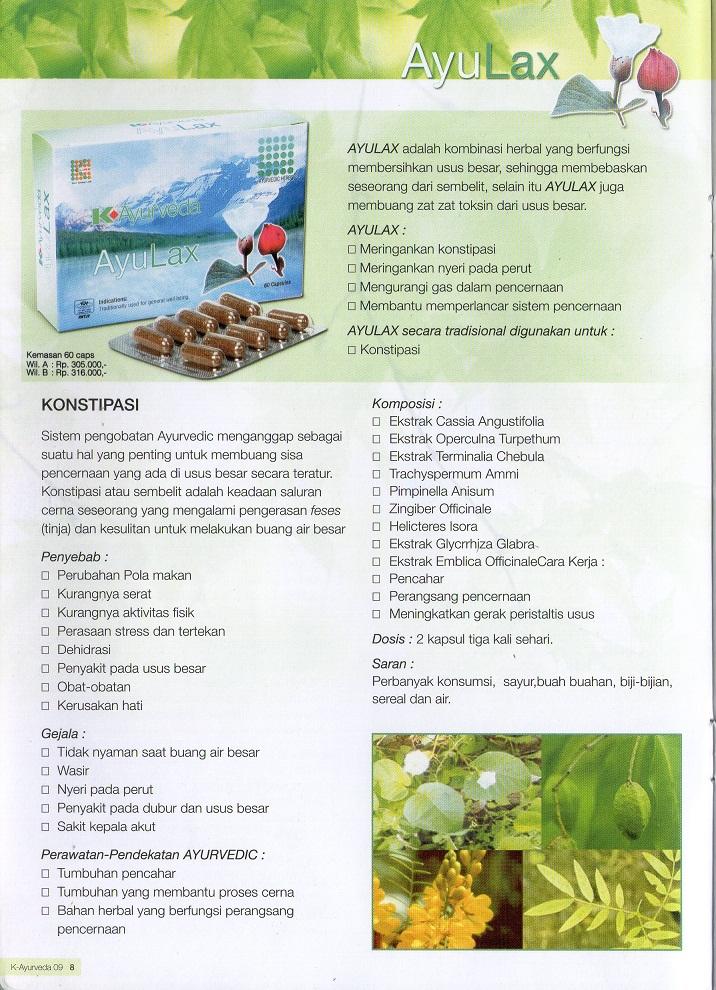 AyuLax adalah Kombinasi Herbal yang berfungsi membersihkan usus besar ...