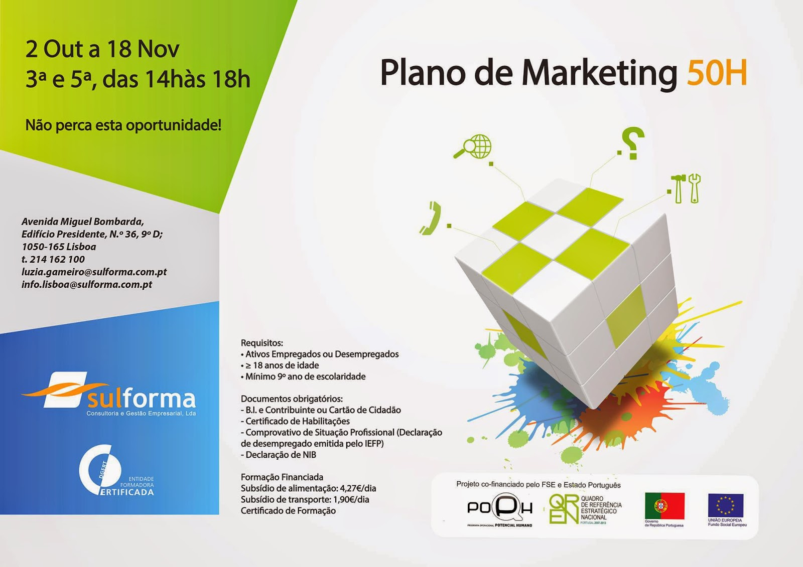 curso financiado plano de marketing Lisboa