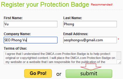 Hướng dẫn đăng ký và sử dụng DMCA