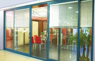 sliding door double blinds