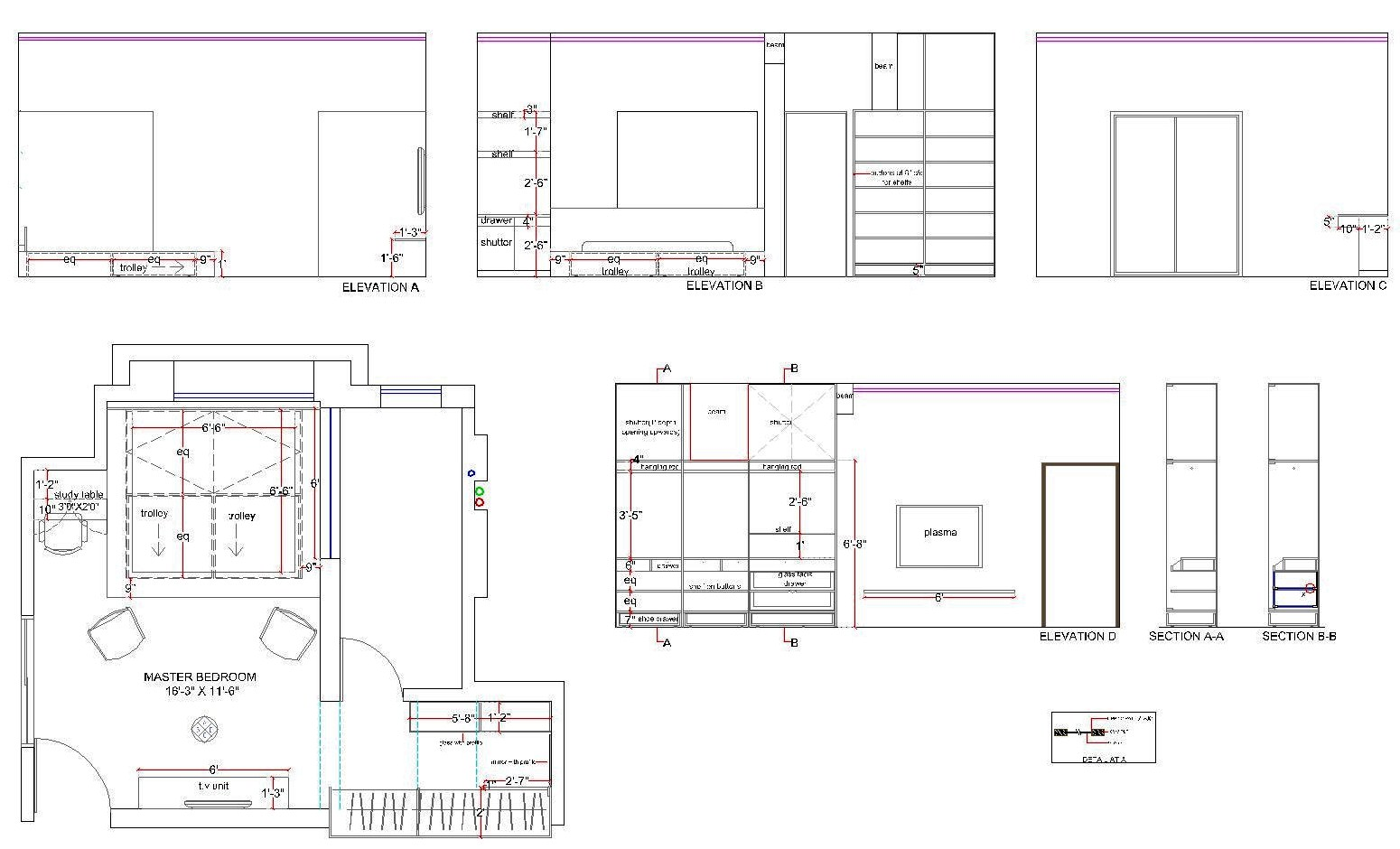 ... study table in section elevation d shows the side elevation of the bed