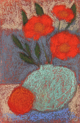 contemporary still life pastel painting artist janine aykens mid century modern post impressionist quirky orange flower and fruit complimentary color
