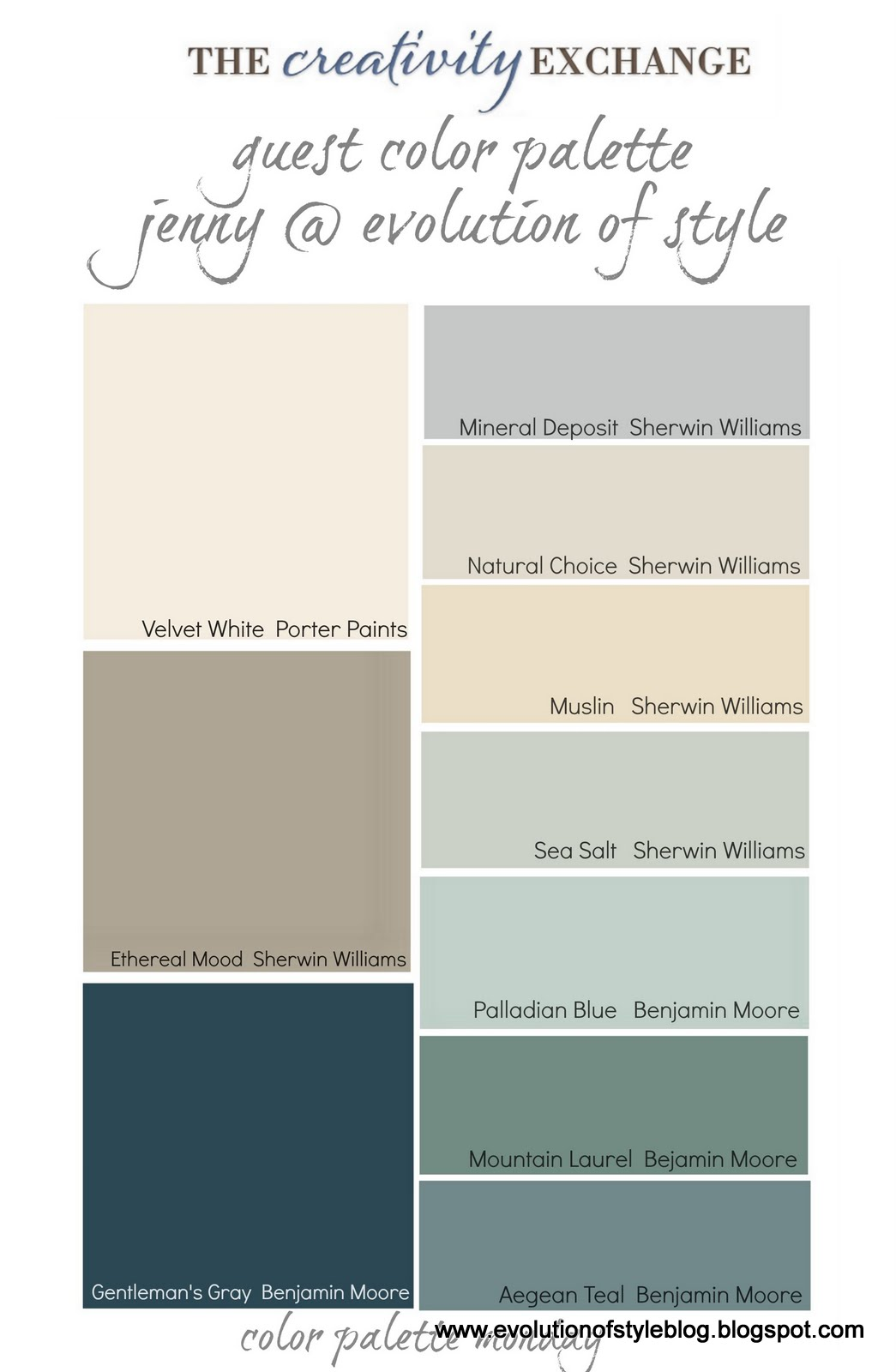 Our paint colors evolution of style for Blue gray paint palette