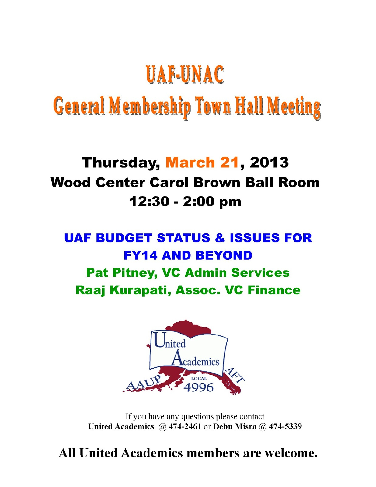 Uaf Staff Council Blog Staff Invitation To Upcoming Uaf Unac