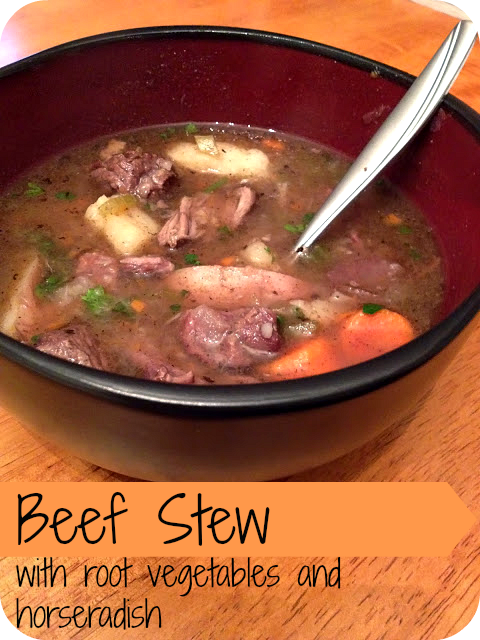 Beef Stew with root vegetables and horseradish; fantastic fall or cold winter weather recipe.
