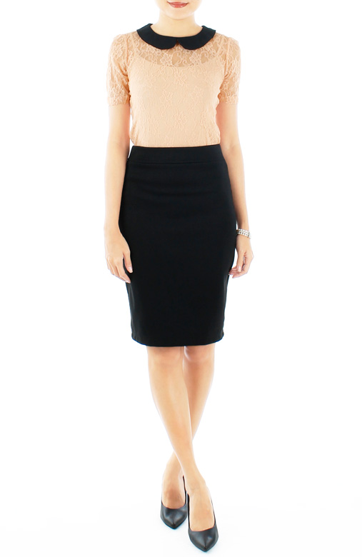 Classic Black Pencil Skirt in Knee Length