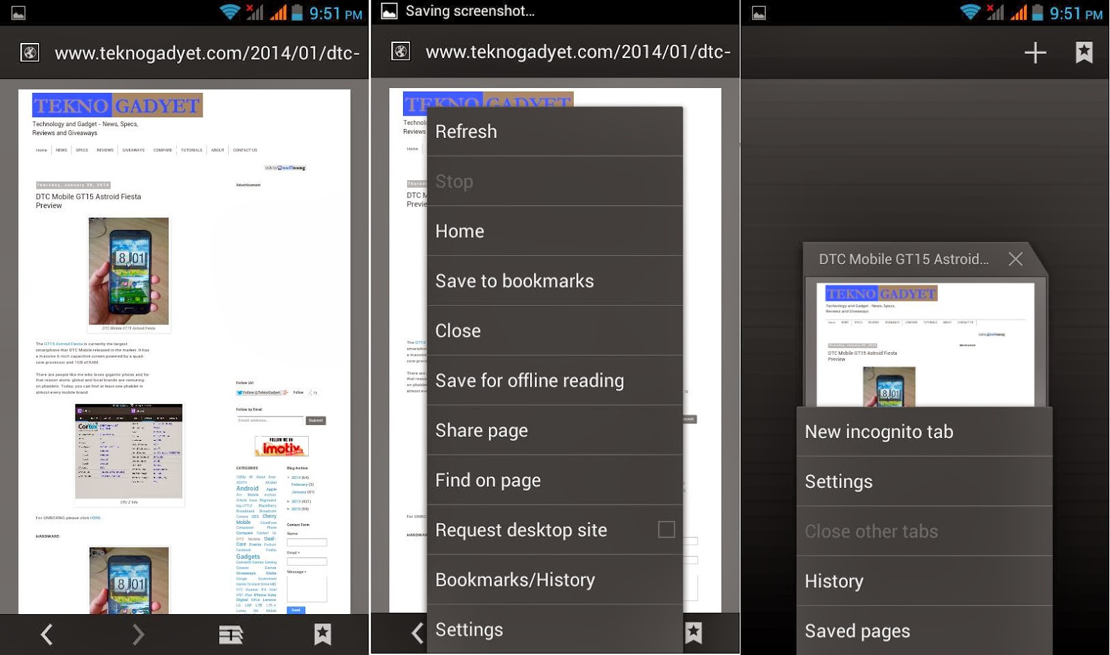 DTC Mobile GT15 Astroid Fiesta Browser