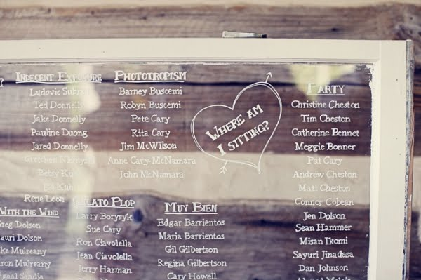 old window in your wedding seating chart with glass photo display