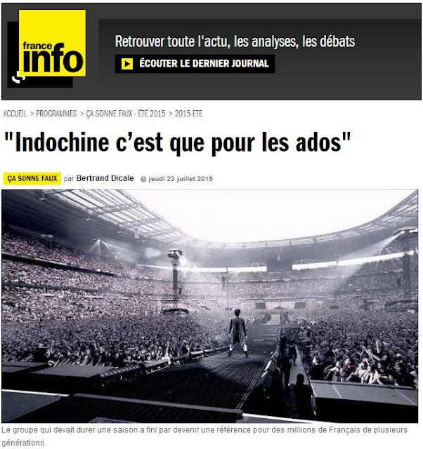 """Crónica - France Info : """"Indochine es solo para los adolescentes"""""""