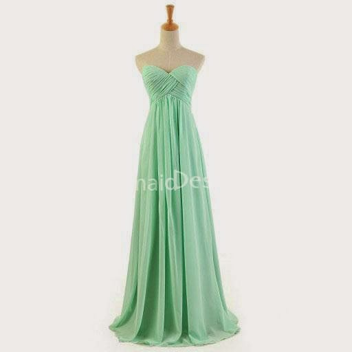 Simple Mint Green Strapless Sweetheart Long Chiffon Bridesmaid Dress