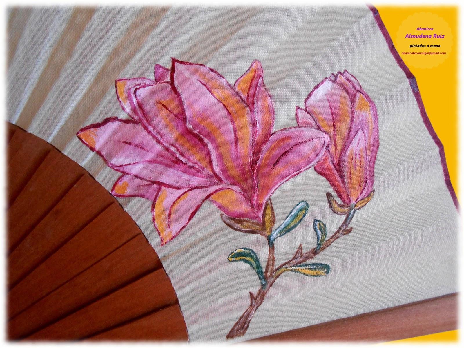 Magnolias abanicos pintados a mano abanicate conmigo - Como pintar abanicos ...