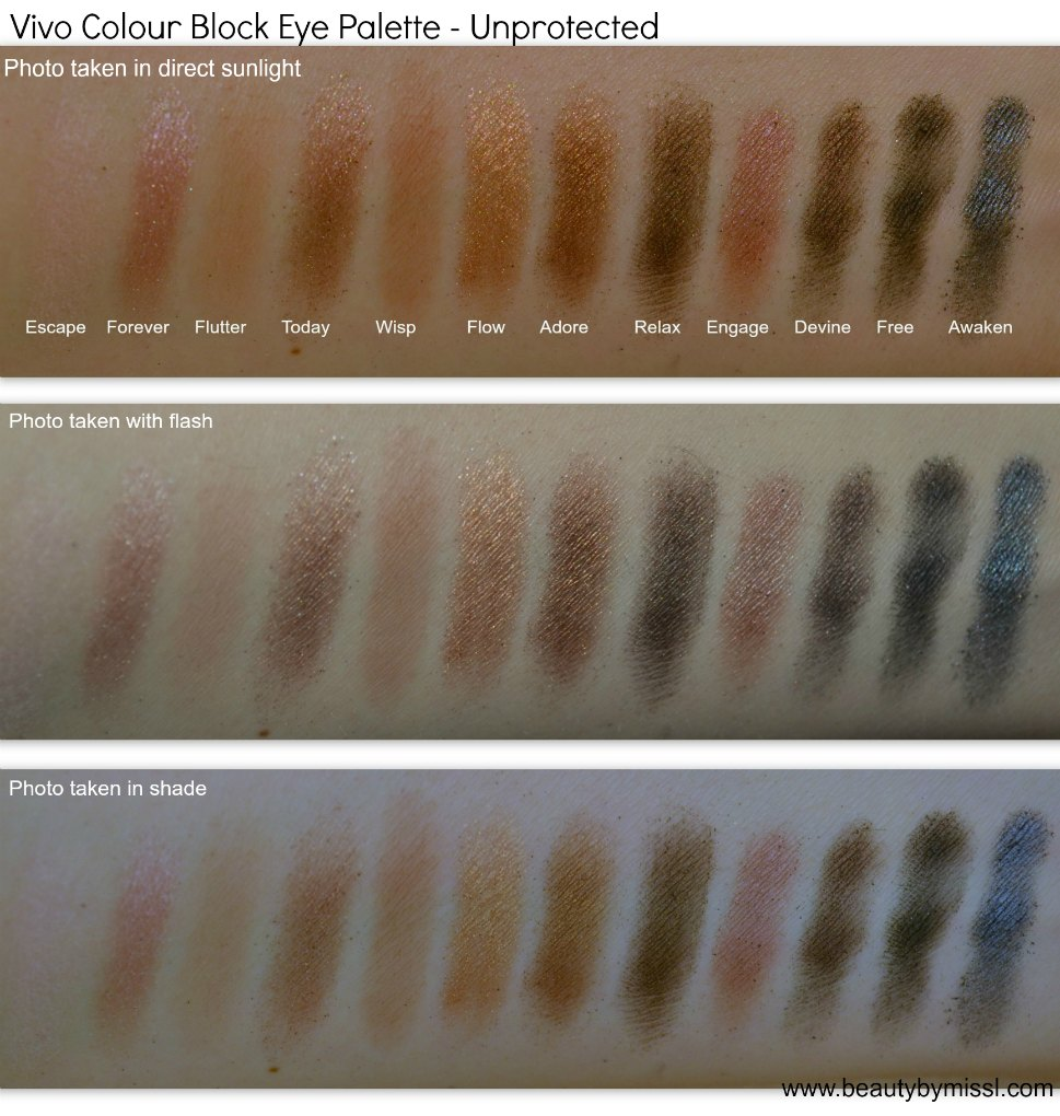 Vivo Cosmetics Unprotected Eyeshadow Palette swatches
