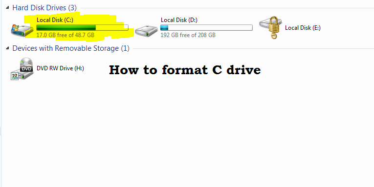 How To Format C Drive in Window 7/8