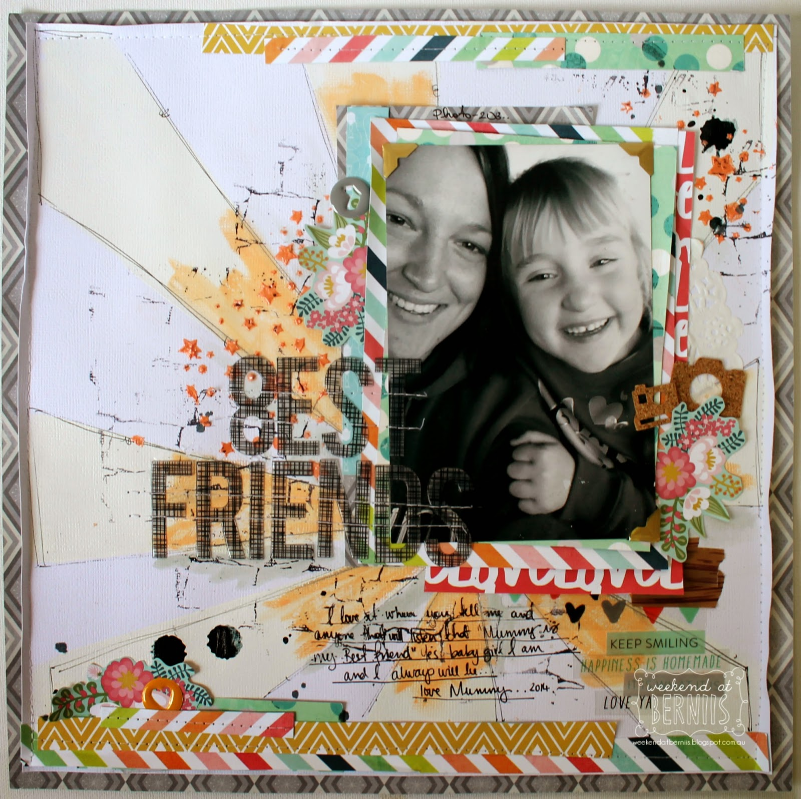 Best Friends Layout by Bernii Miller for Scrappy Canary Kits using the Sunshine & Lollipops kit.