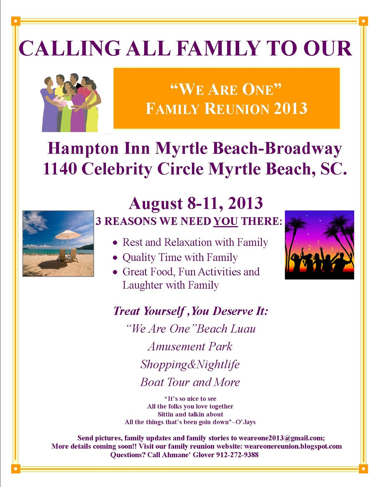 We Are One Family Reunion: Family Reunion Schedule August 8-11, 2013!!