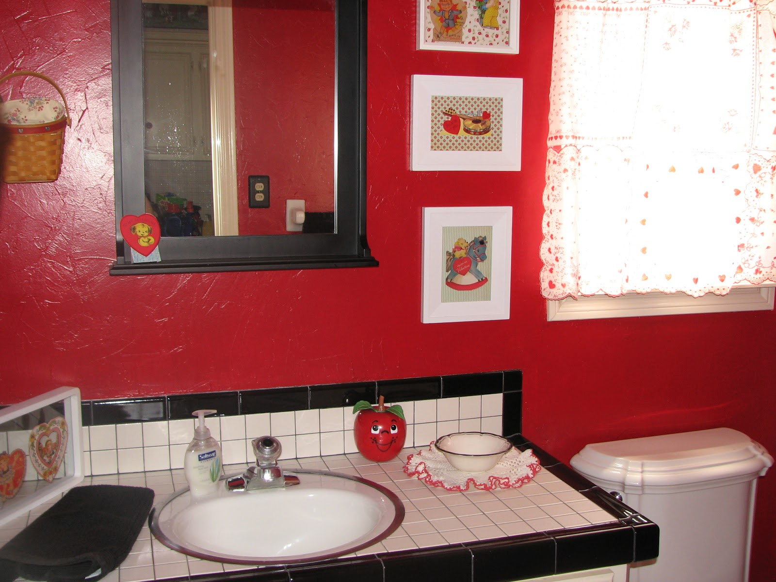 Scrapping a good life my new shabby chic red bathroom for Red tile bathroom ideas