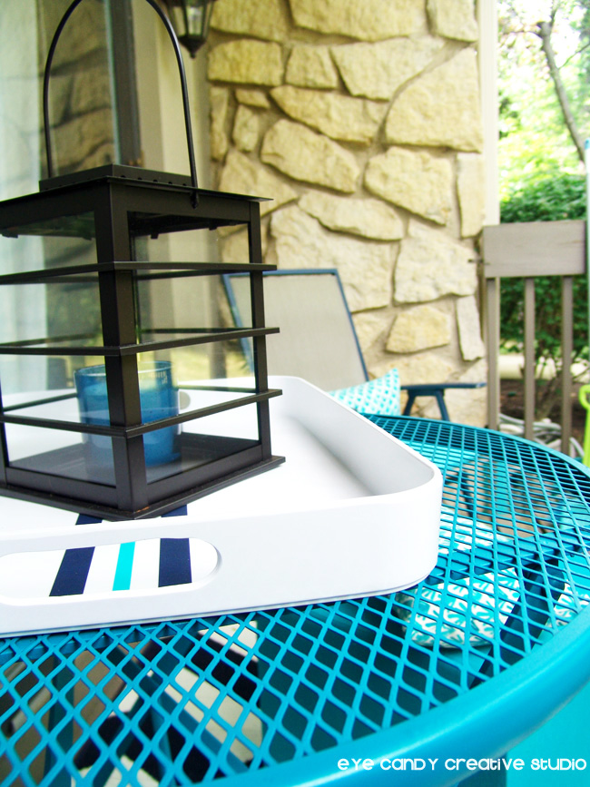 lantern, patio table makeover, candle, aqua & navy, outdoor living space