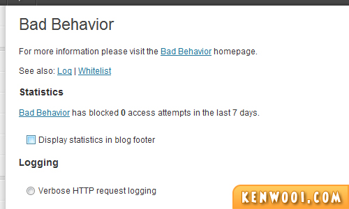 wordpress plugin bad behavior