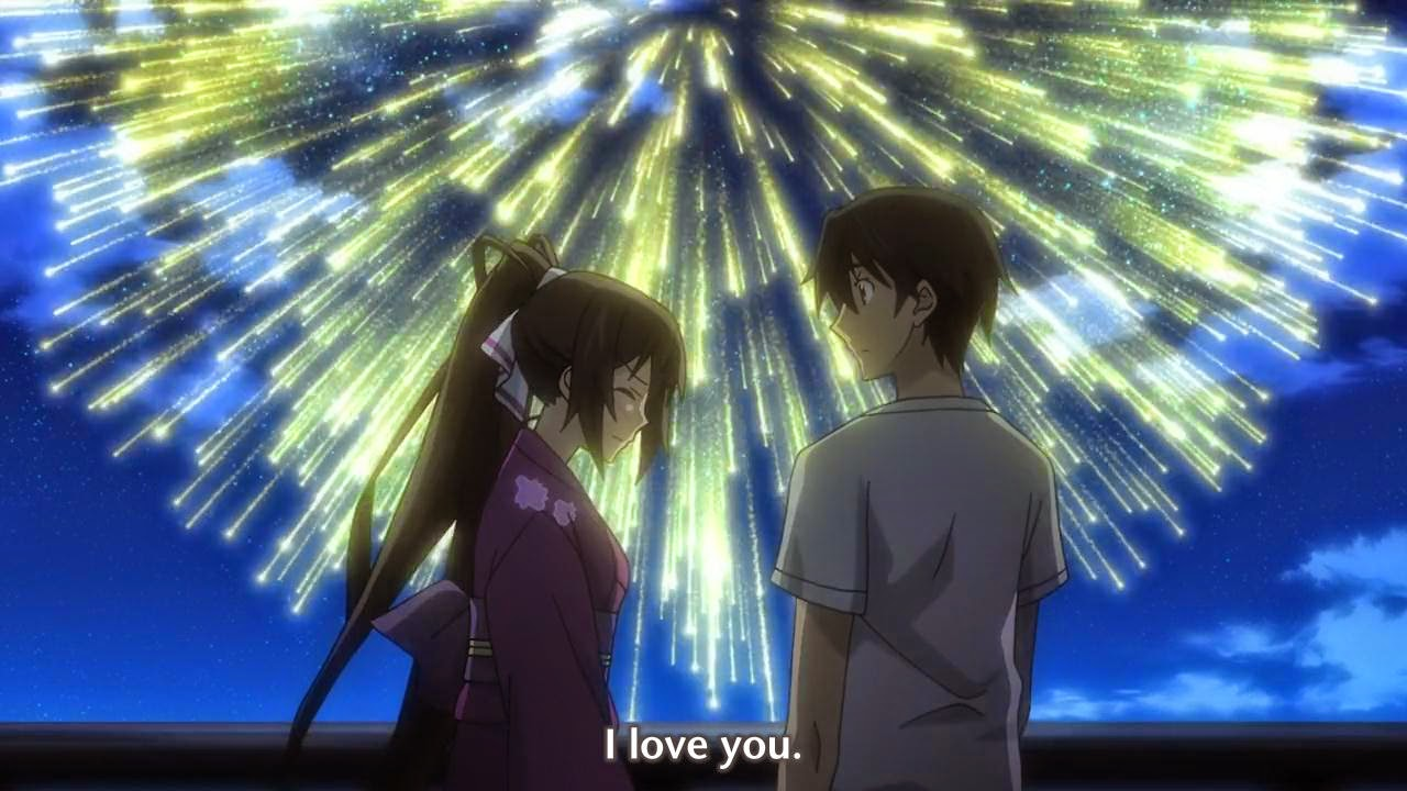 Infinite Stratos OVA Anime In Manga Theres Always The Famous Fireworks Confession Or Kiss Scene
