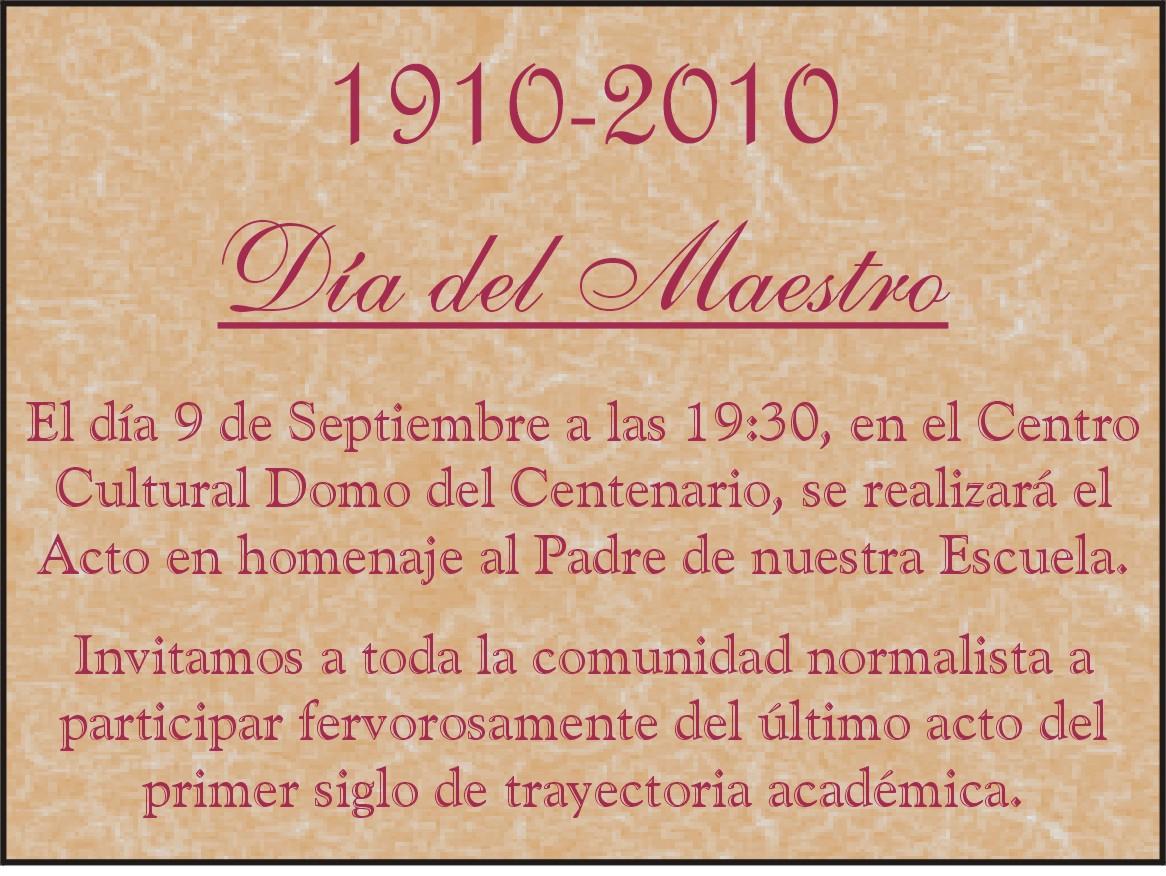 DE LA ESCUELA NORMAL DE RESISTENCIA: Invitación Acto Día del Maestro