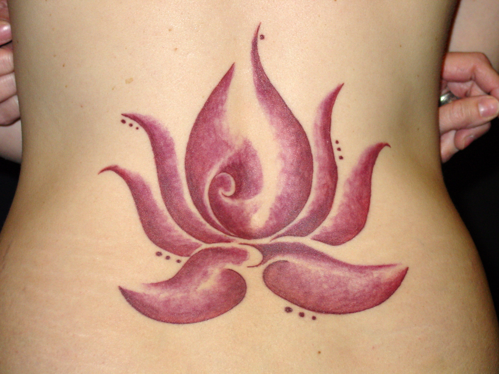 Hwfd Lower Back Lotus Flower Tattoo Designs Hd Wallpaper 1024 X