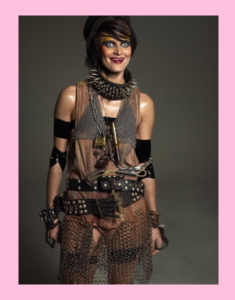 Malgosia Bela dressed as a caveman for Let's Panic Magazine No.1