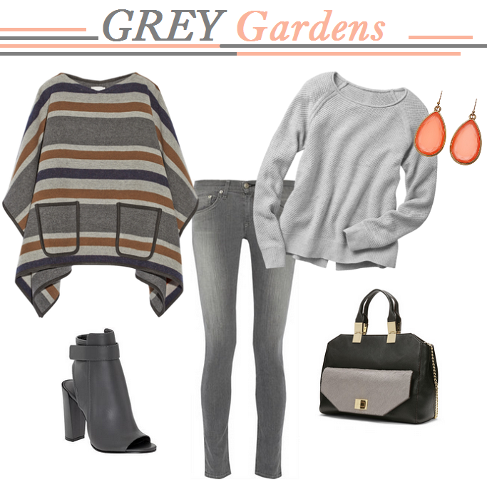 Rag and Bone grey jeans, Grey Sweater, Fall outfit Ideas, Vince Peeptoe booties