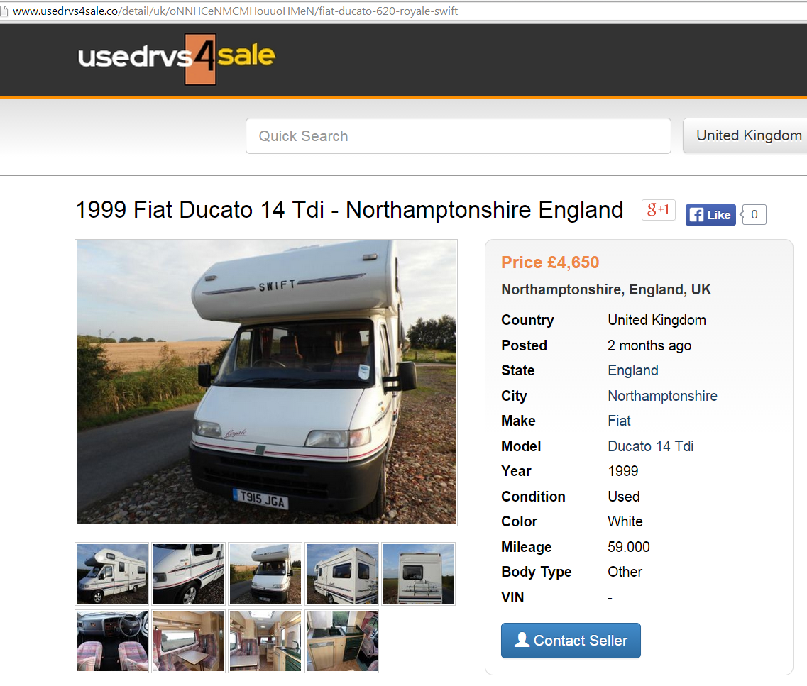 Motorhome Scam On Ebay Fiat Ducato Swift Royale 620 T915jga Fraud T915 Jga 30 D