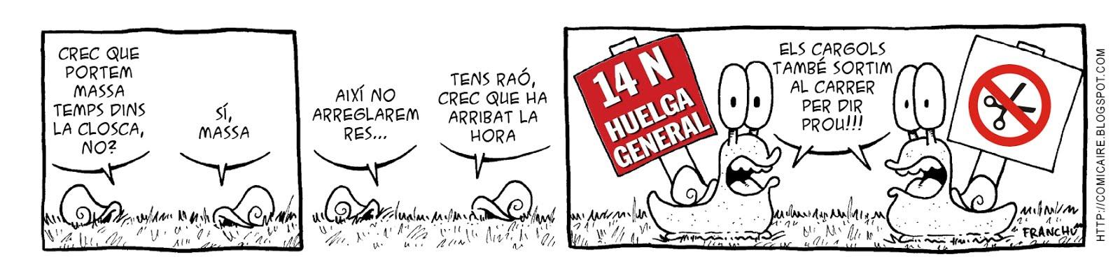 Tira comica 142 del webcomic Cargols del dibuixant Franchu de Barcelona