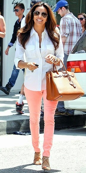 Peach pants white button down