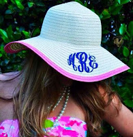 Monogrammed Derby Hat Floppy Pink Outline