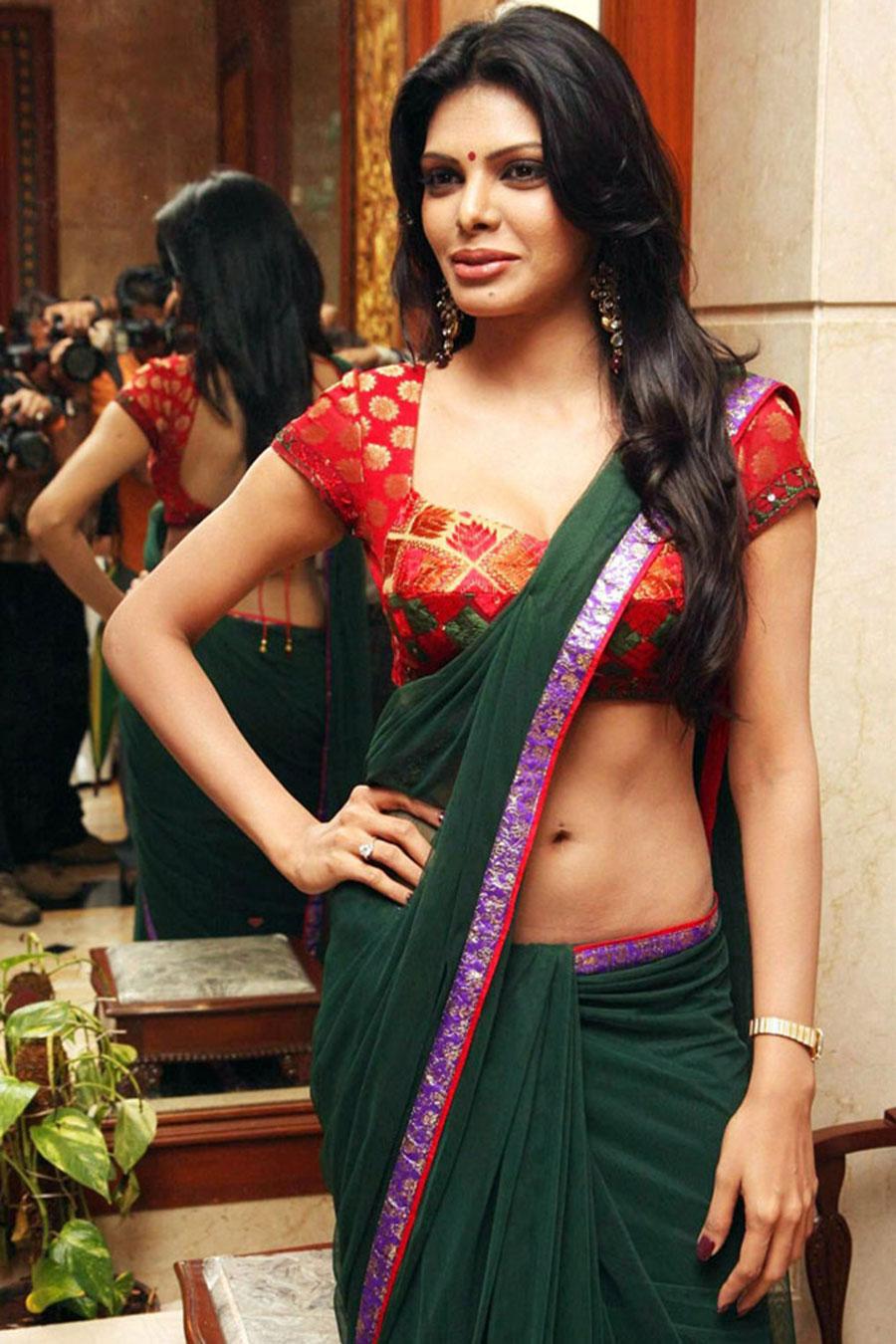 sherlyn chopra in saree latest photos