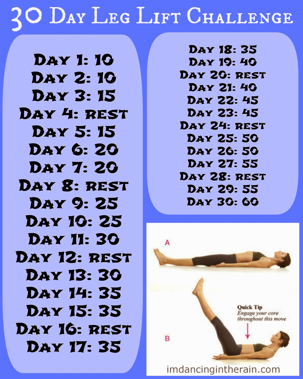 Dancing in the Rain: 30 Day Leg Lift Challenge