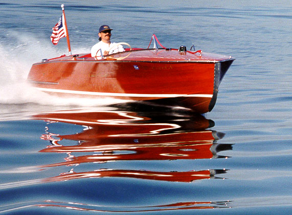 Classic wooden speed boat for sale