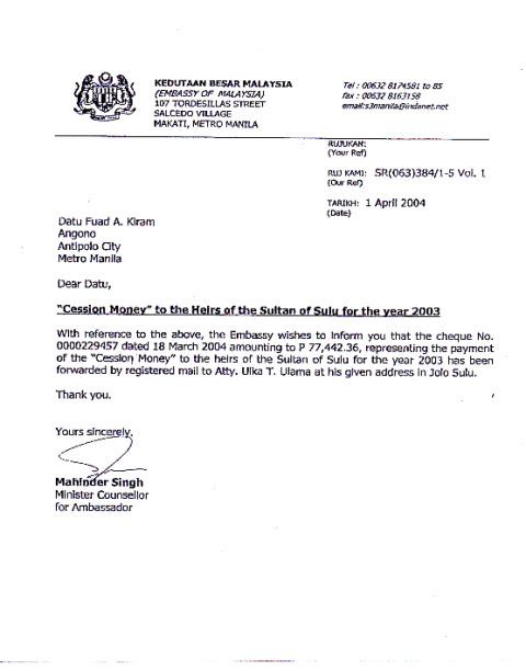 Jika dokumen bayaran diatas dan dibawah adalah benar, maka Sabah bukan