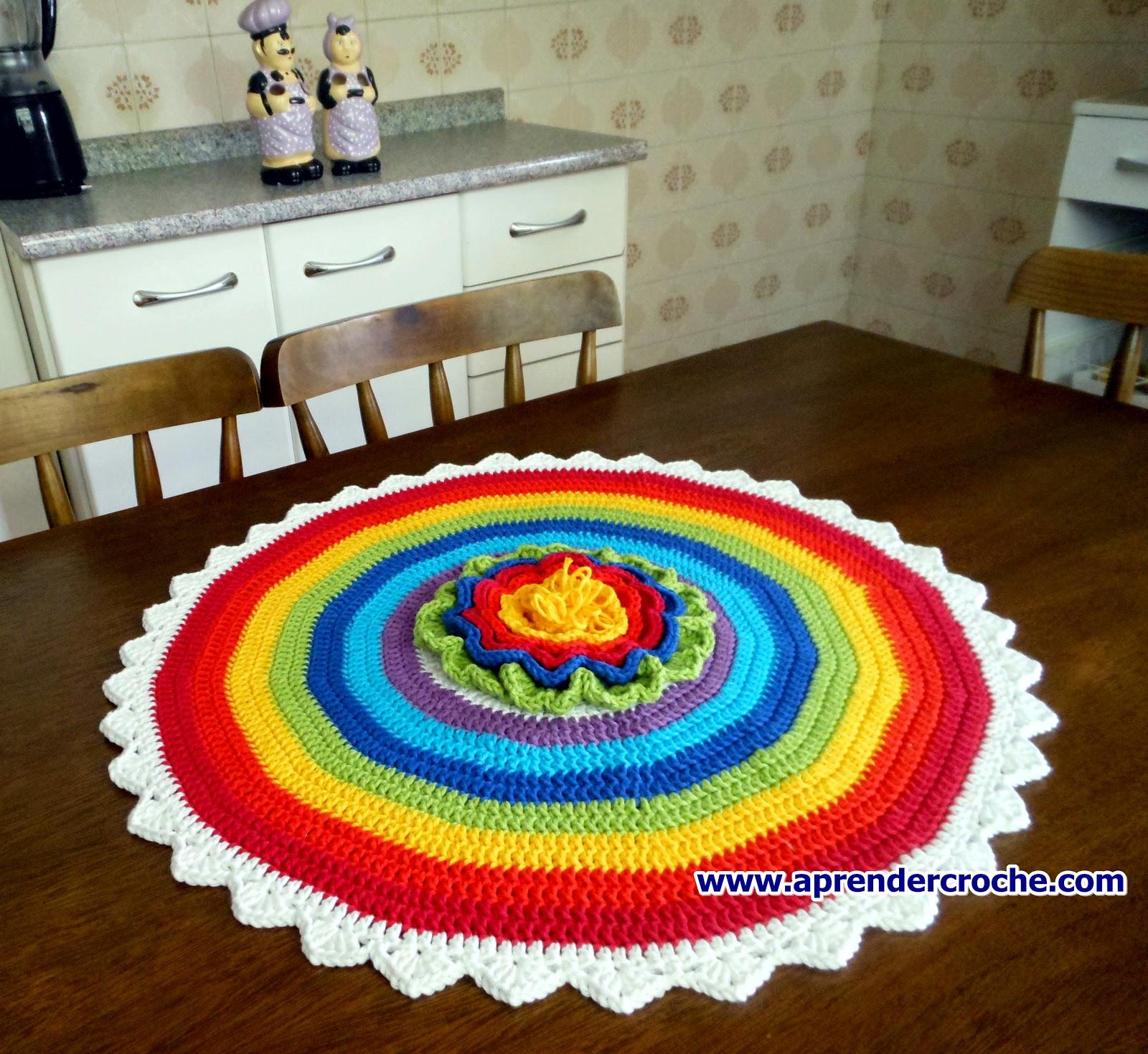 aprender croche gratis com centro de mesa arco-iris dvd video aulas loja curso de croche frete gratis
