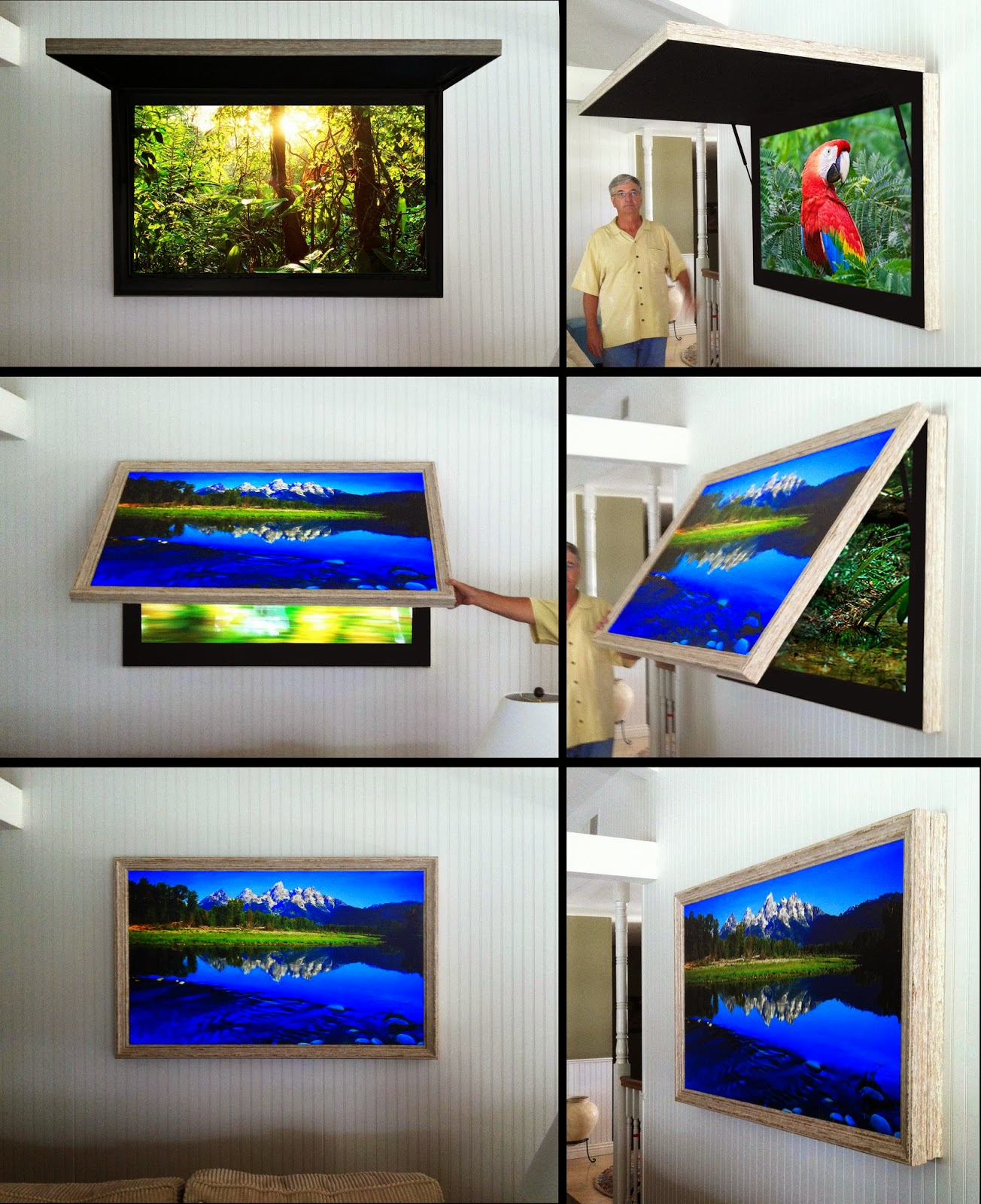 Frame TV with Art Cover or behind Framed Mirror