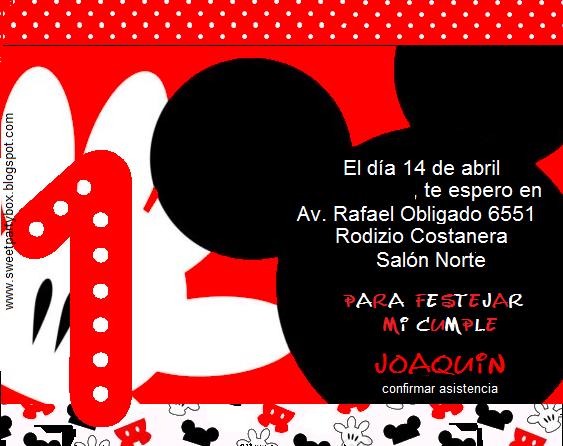 Tarjetas de invitación de primer año cumpleaños de Mickey Mouse ...