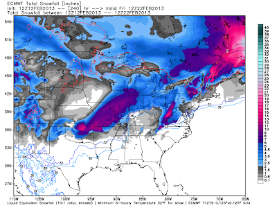this is a forecast image of the ecmwf model s snowfall forecast to day