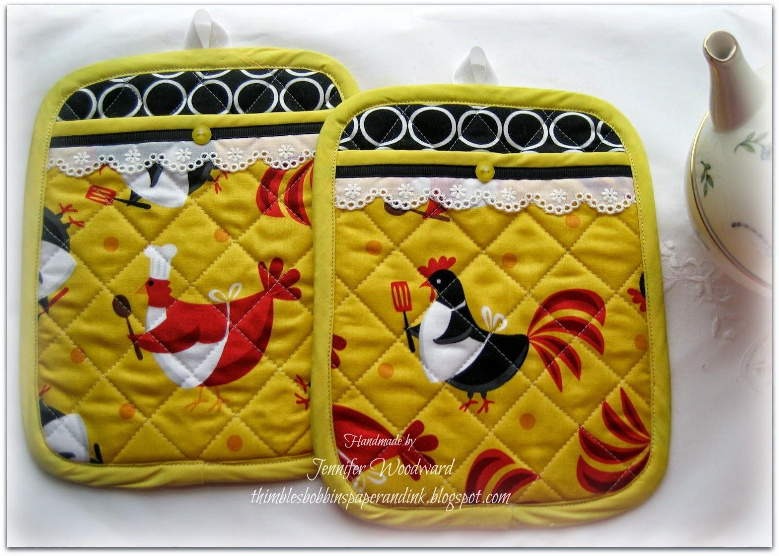 Chicken Themed Kitchen thimbles, bobbins, paper and ink: chicken themed kitchen linens