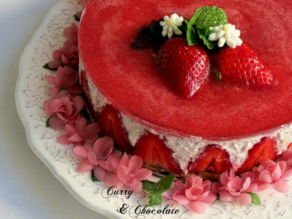 Tarta de fresas y nata (sin horno) – Strawberry and cream cheesecake